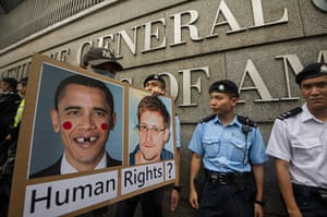 Hong Kong protest: Edward Snowden Supporters Gather In Hong Kong