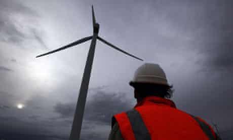 A wind turbine at Lake George, north of Canberra.