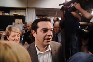 Leader of the SYRIZA party Alexis Tsipras enters the Hellenic Radio Television building in Thessaloniki