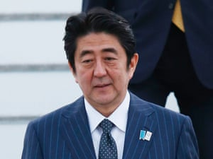 Japan's Prime Minister Shinzo Abe arrives in Belfast.
