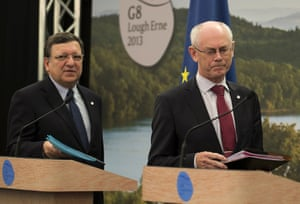 President of the European Commission Jose Manuel Barroso (L) and  President of the European Council Herman Van Rompuy arrive for their press conference on the first day of G8 Summit at Lough Erne in Enniskillen, Northern Ireland, on June 17, 2013.
