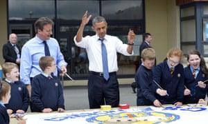 Barack Obama and David Cameron at Enniskillen Integrated Primary Schoo on 17 June 2013.