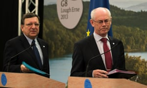 President of the European Commission Jose Manuel Durao Barroso (left) and  President of the European Council Herman Van Rompuy (right) arrive for a press conference at the G8 Summit in Enniskillen.