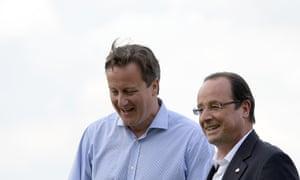 Cameron greets France's President Francois Hollande.