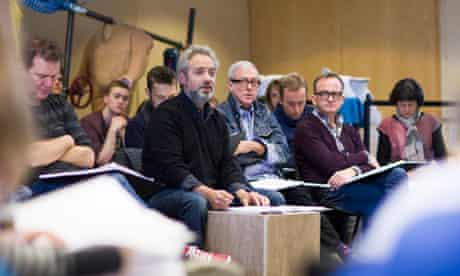 Sam Mendes (in black) at rehearsals for Charlie and the Chocolate Factory