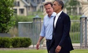 Cameron welcomes President Barack Obama.