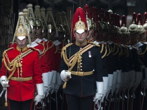 Soldiers take part in the annual procession for members of the Order of the Garter at Windsor Castle in Berkshire.