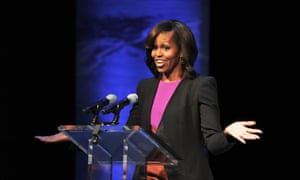 Michelle Obama makes a speech during a visit to the Gaiety Theatre in Dublin, Ireland.