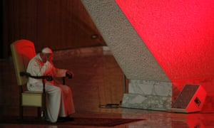 Pope Francis listens to a prayer at the opening of the Pastoral Convention of the Diocese of Rome at the Vatican.