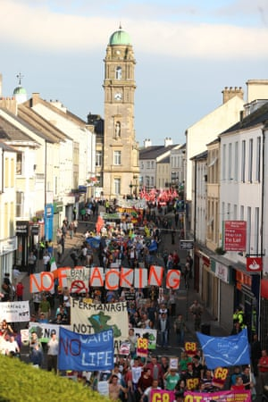 Demonstrations against the G8 summit in Northern Ireland take to the streets of Enniskillen.