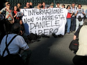 "A group of photographers hold a banner reading ""You can't arrest the information, free Daniele"" in front of the Turkish Embassy in Rome. Italian photographer Daniele Stefanini was arrested by Turkish police yesterday while covering anti-government protests in Istanbul."