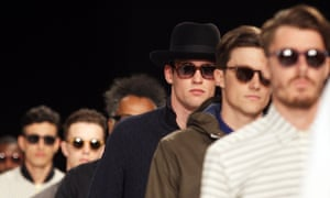 Shady characters: Models walk on the catwalk for the Oliver Spencer Spring/Summer Menswear collection as part of London Collections: Men in London.