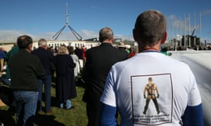 Demonstrators from the 'wind power fraud rally' outside Parliament House in Canberra.