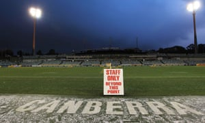 The scene at the Canberra Stadium
