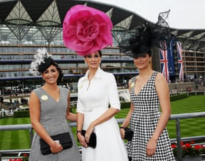 My hat is bigger than yours. Racegoers attend Royal Ascot.