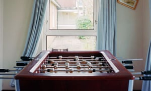 The games room at a hostel for older boys in Kent