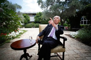 Peres's party: Israel's President Shimon Peres gestures