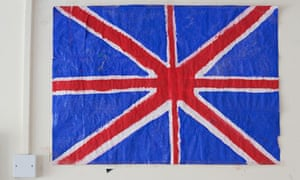 A flag on the wall of the centre in Kent for young asylum seekers