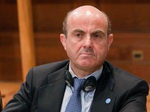 Spain's economy minister Luis de Guindos Jurado. Photograph; AP/Mauro Scrobogna
