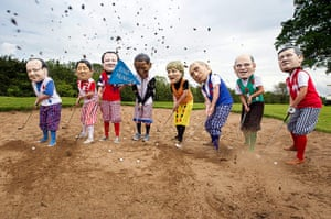 Big IF at G8: Anti-G8 protesters disguised as G8 leaders playing a round of golf