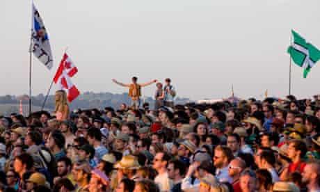 Crowds of  festival goers at Glastonbury