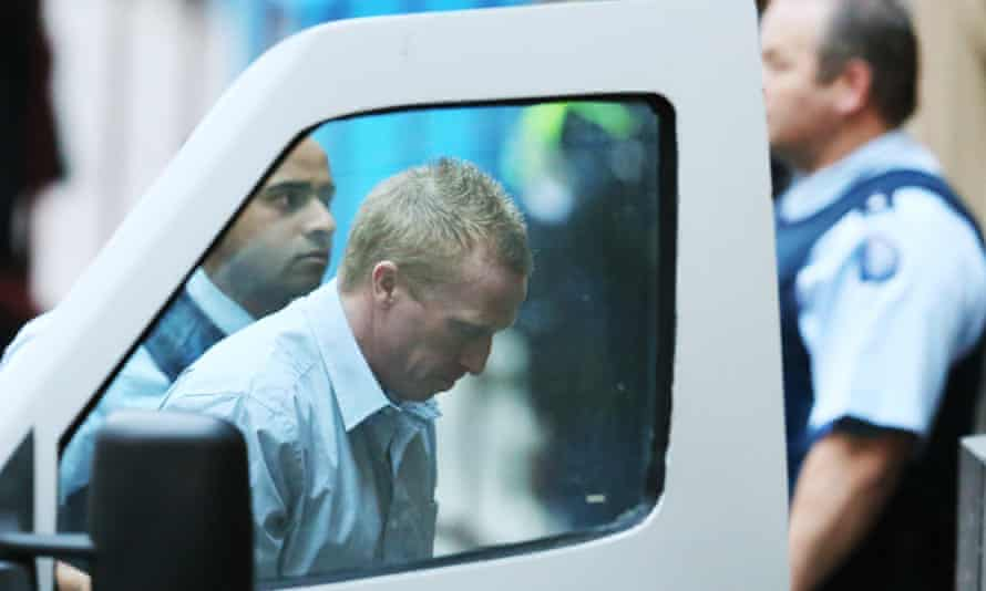 Adrian Bayley is taken from a prison van and led into the Melbourne supreme court on Wednesday.