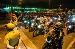 Brazil protests continue: Demonstrators on mototcycles protest against price increase of public trans