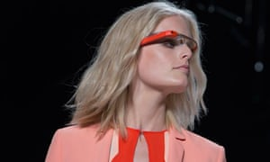 A model displays Google Glass