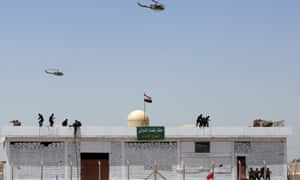 Iraqi special forces take part in a drill simulating a hostage rescue operation at an Iraqi army base North of Baghdad.