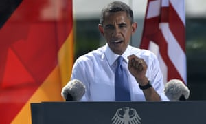 US President Barack Obama delivers a speech at the Brandenburg Gate in Berlin.
