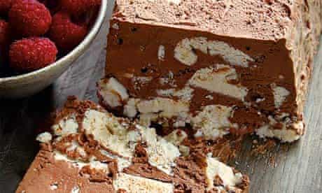 Hazelnut meringue roulade
