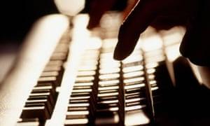 finger on a keyboard