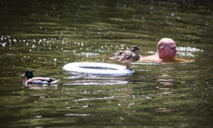 Get your feet wet: A swimmer and ducks enjoy the hot weather in Hampstead ponds in London