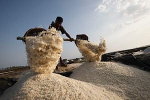 Rohingya refugees: Rohingya refugees in the salt fields in Taknaf Bangladesh