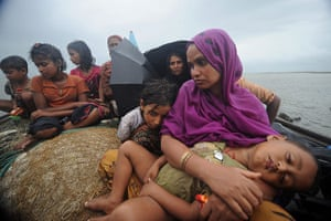 Rohingya refugees: trying to cross the Naf river into Bangladesh