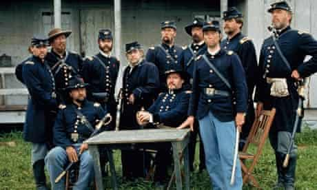 Jeff Daniels, standing at centre, portrays Joshua Lawrence Chamberlain in the 1993 film Gettysburg