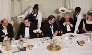 Guests including George Osborne (2nd L), and Governor of the Bank of England, Mervyn King (3rd R), are served food at the 'Lord Mayor's Dinner to the Bankers and Merchants of the City of London'