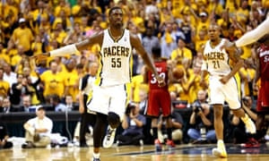 Indiana Pacers center Roy Hibbert has reason to celebrate as his team defeated the Miami Heat at home to force a Game 7 in the Eastern Conference Finals. Photo by Ronald Martinez/Getty Images.