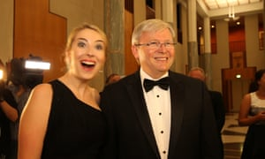 Kevin Rudd arrives with his daughter Jessica  at the midwinter ball in the Great Hall. The Global Mail.