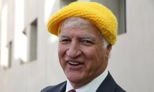 Bob Katter models a hat given to him by the Nanas Against Gas (NAG) at an anti CSG demonstration. The Global Mail.