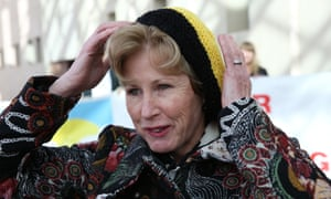 Christine Milne models a hat given to her by the Nanas Against Gas (NAG). The Global Mail.