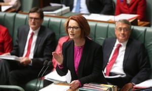 The Prime Minister Julia Gillard at the dispatch box during question time. The Global Mail.