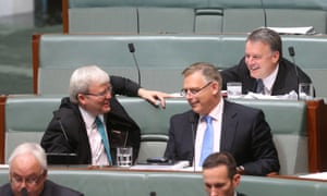 Blue tie mining, Kevin Rudd, Anthony Byrne and Joel Fitzgibbon during question time. The Global Mail.