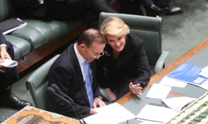 The Deputy Leader Julie Bishop with Leader Tony Abbott during question time. The Global Mail.
