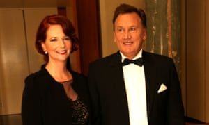 The Prime Minister Julia Gillard with her partner Tim Mathieson at the midwinter ball in the Great Hall. The Global Mail.