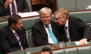 Ed Husic, Kevin Rudd, Martin Ferguson and Joel Fitzgibbon during a division in the House of Representatives. The Global Mail.