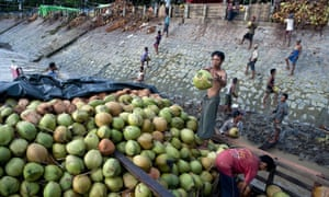 Jetty workers unload coconuts from a boat at a market in Yangon, Burma.