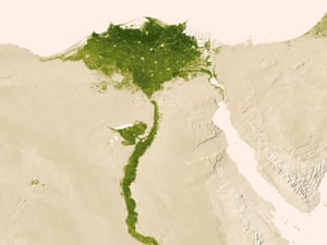 Here, urbanised areas of northern Egypt are visible amidst the deserts. The image also shows the Nile River which provides life-sustaining water to the region.