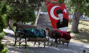 Protesters catch some sleep in Kugulu Park in Ankara, Turkey. After weeks of confrontation with police, silent protest has become the latest form of demonstration.