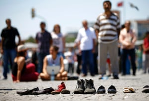 In Taksim Square shoes are laid out on the ground in memory of protesters detained or injured in recent clashes in Istanbul.